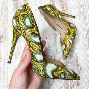 Jean-Michel Cazabat Green & Yellow Snake Pumps